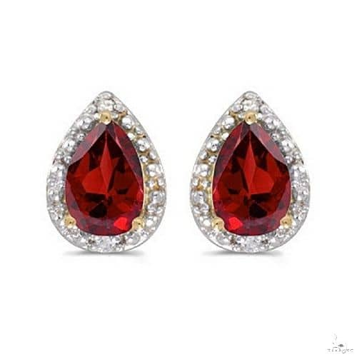 Pear Ruby and Diamond Stud Earrings 14k Yellow Gold Stone