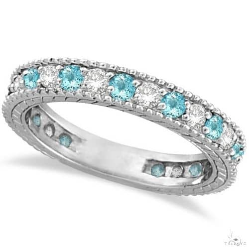 Diamond and Aquamarine Eternity Ring Band 14k White Gold Anniversary/Fashion