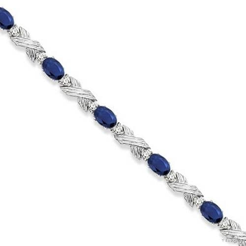Blue Sapphire and Diamond XOXO Link Bracelet in 14k White Gold Gemstone & Pearl