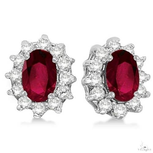 Oval Ruby and Diamond Accented Earrings 14k White Gold Stone