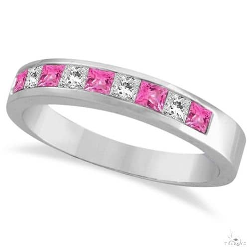 Princess Channel-Set Diamond and Pink Sapphire Ring Band 14k White Gold Anniversary/Fashion
