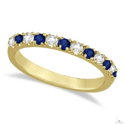 Diamond and Blue Sapphire Ring Anniversary Band 14k Yellow Gold Anniversary/Fashion