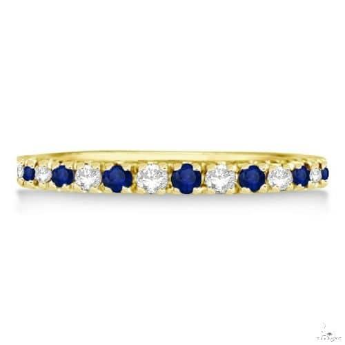Diamond and Blue Sapphire Ring Anniversary Band 14k Yellow Gold Anniversary/Fashion