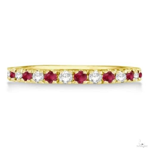 Diamond and Ruby Ring Guard Stackable Band 14K Yellow Gold (0.37ct) Anniversary/Fashion