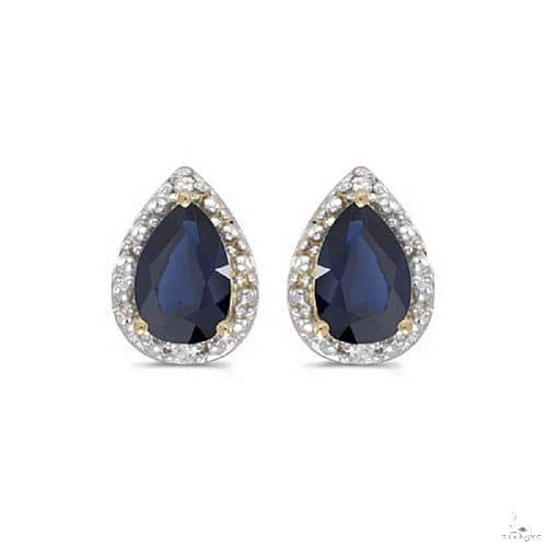 Pear Blue Sapphire and Diamond Stud Earrings 14k Yellow Gold (1.70ct) Stone