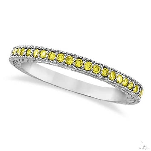 Fancy Yellow Canary Diamond Stackable Ring Band 14Kt White Gold Anniversary/Fashion
