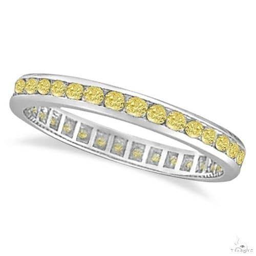 Channel Set Yellow Canary Diamond Eternity Ring 14k White Gold Anniversary/Fashion