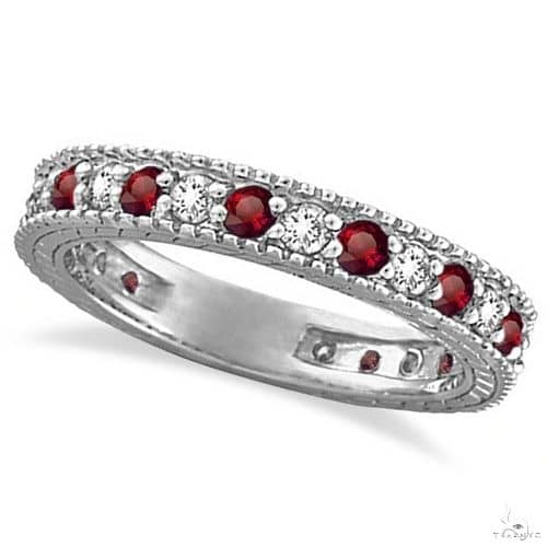 Diamond and Ruby Anniversary Ring Band 14k White Gold Anniversary/Fashion