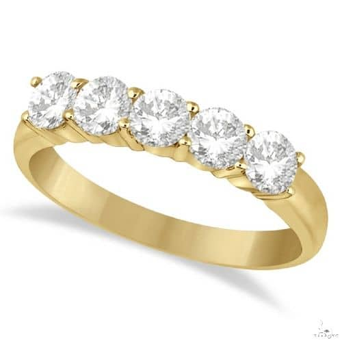 Five Stone Diamond Ring Anniversary Band 14k Yellow Gold Anniversary/Fashion