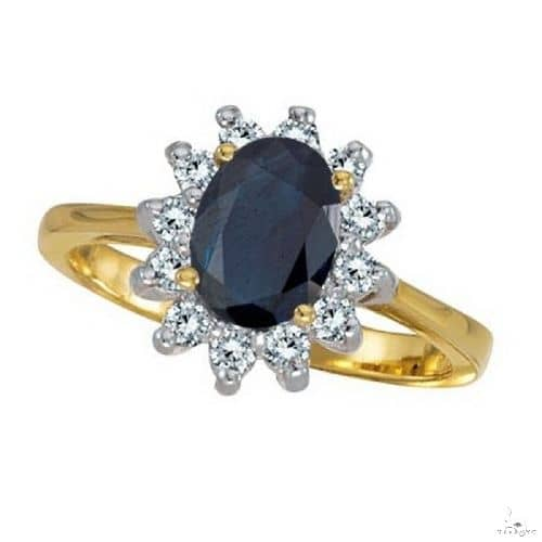 Lady Diana Blue Sapphire and Diamond Ring 14k Yellow Gold Anniversary/Fashion