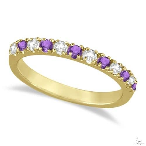 Diamond and Amethyst Band Stackable Ring Guard 14k Yellow Gold Anniversary/Fashion