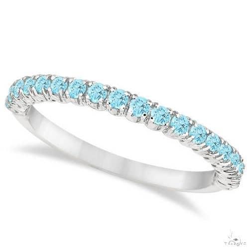 Half-Eternity Pave-Set Thin Aquamarine Stack Ring 14k White Gold Anniversary/Fashion