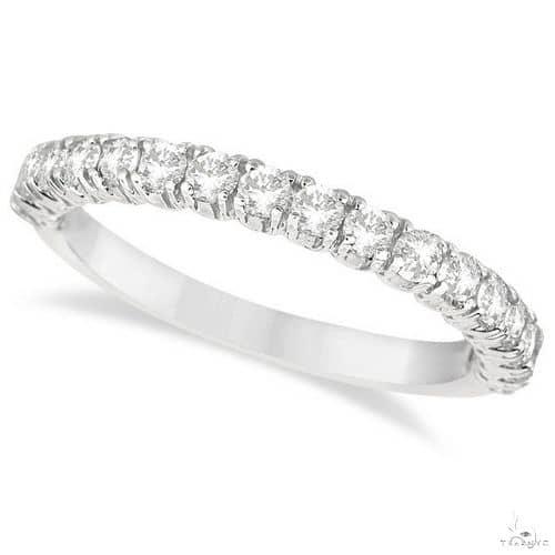 Half-Eternity Pave-Set Diamond Stacking Ring 14k White Gold Anniversary/Fashion