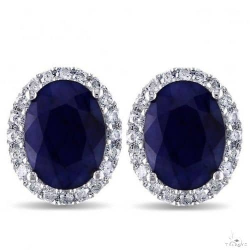 Oval Blue Sapphire and Halo Diamond Stud Earrings 14k W. Gold Stone