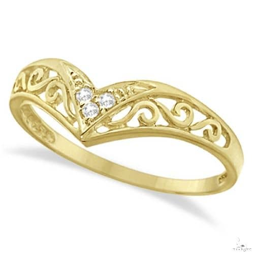 Antique Style Chevron Diamond Ring 14k Yellow Gold Anniversary/Fashion