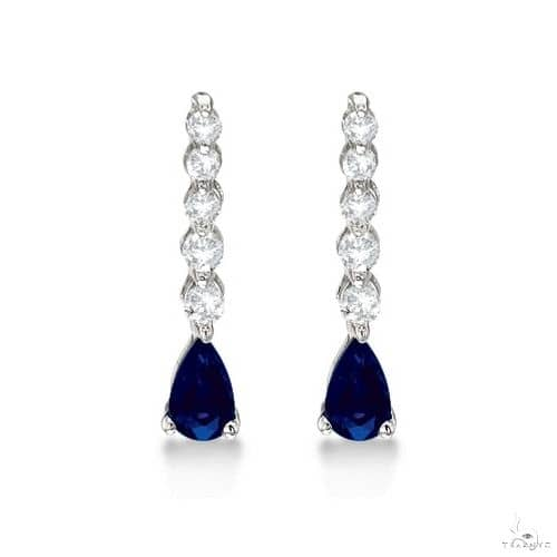 Pear Sapphire and Diamond Graduated Drop Earrings 14k White Gold Stone