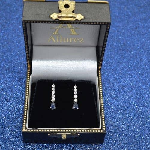 Pear Sapphire and Diamond Graduated Drop Earrings 14k White Gold Stone