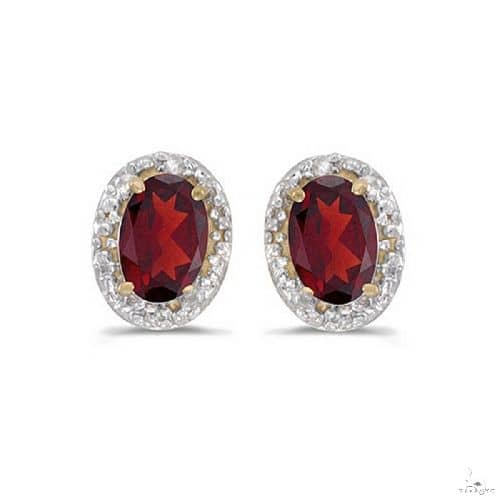 Diamond and Ruby Earrings in 14k Yellow Gold Stone