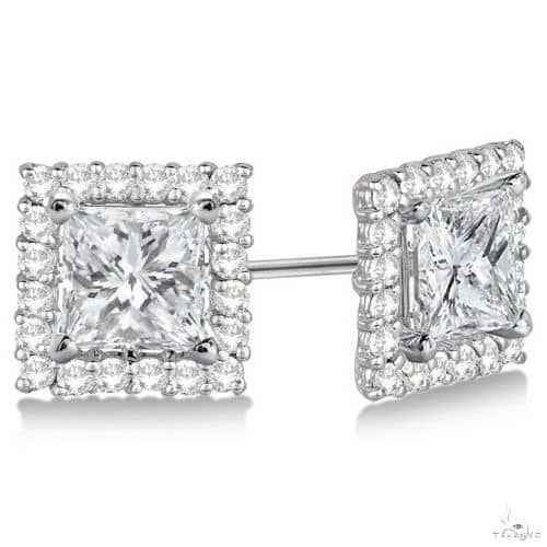 Pave-Set Square Diamond Earring Jackets 14k White Gold Stone