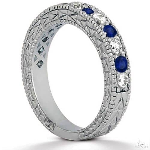 Antique Diamond and Blue Sapphire Wedding Ring 14kt White Gold Anniversary/Fashion