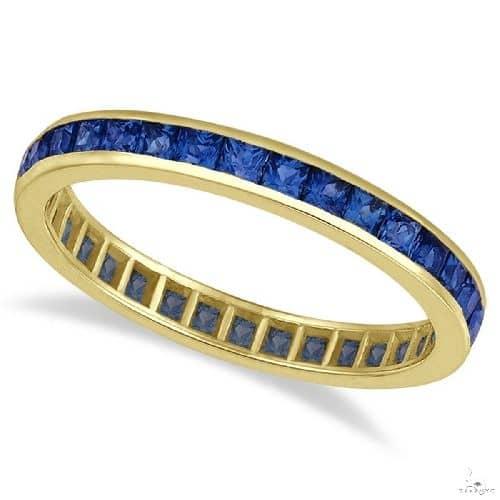 Princess-Cut Blue Sapphire Eternity Ring Band 14k Yellow Gold Anniversary/Fashion