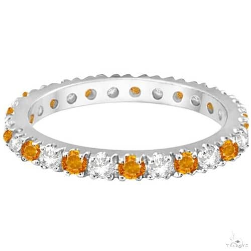 Diamond and Citrine Eternity Ring Guard Band 14K White Gold Anniversary/Fashion