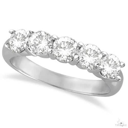 Five Stone Diamond Ring Anniversary Band 14k White Gold Anniversary/Fashion
