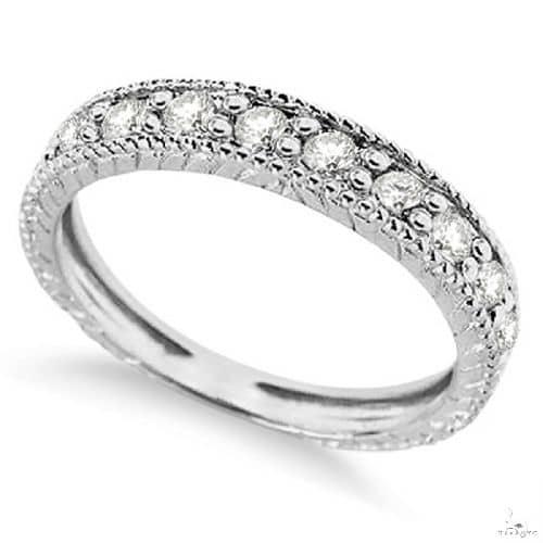 Vintage Style Diamond Wedding Ring Band Half-Way 14k White Gold Anniversary/Fashion