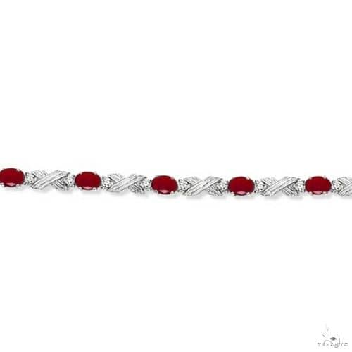 Ruby and Diamond XOXO Link Bracelet in 14k White Gold Gemstone & Pearl