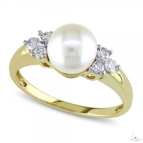 Akoya Pearl Ring w/ Diamond Accents 14k Yellow Gold 7-7.5mm Anniversary/Fashion