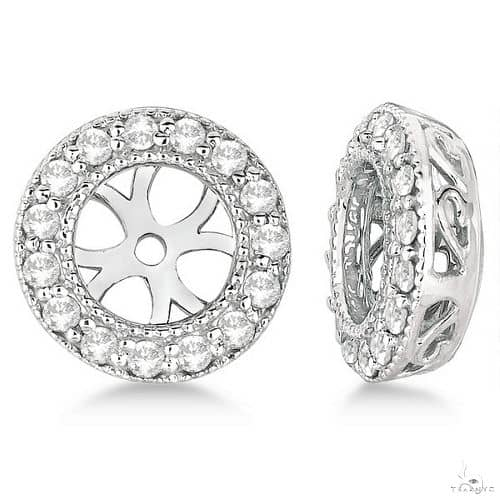 Vintage Round Cut Diamond Earring Jackets 14k White Gold Stone
