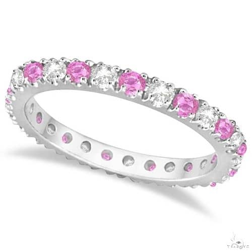 Diamond and Pink Sapphire Eternity Ring Stackable 14k White Gold Anniversary/Fashion
