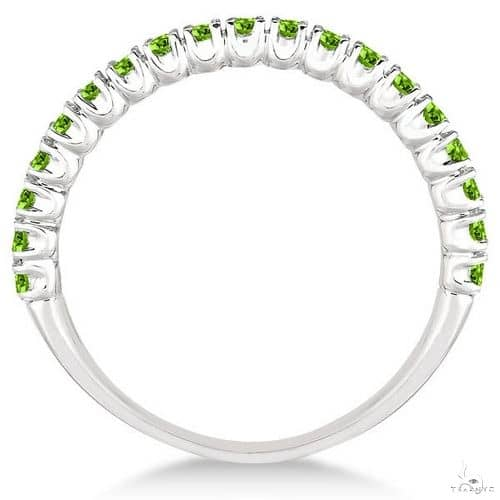 Half-Eternity Pave-Set Thin Peridot Stacking Ring 14k White Gold Anniversary/Fashion