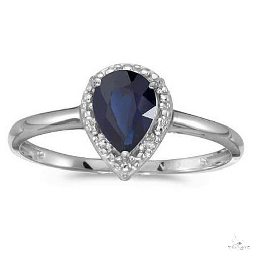 Pear Shape Blue Sapphire and Diamond Cocktail Ring 14k White Gold Anniversary/Fashion