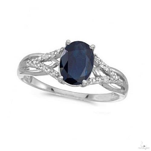 Oval Blue Sapphire and Diamond Cocktail Ring 14K White Gold Anniversary/Fashion