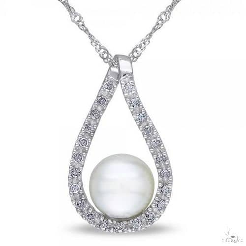 Tear Drop Diamond Pendant w/ Freshwater Pearl 14k White Gold 6.5-7mm Stone