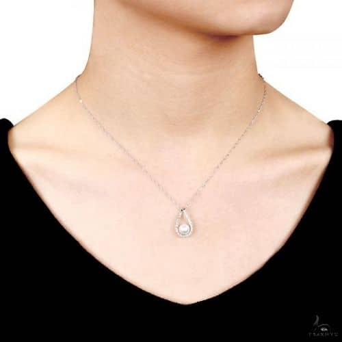 Tear Drop Diamond Pendant w/ Freshwater Pearl 14k White Gold 6.5-7mm Stone