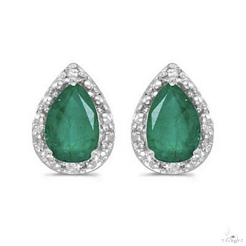 Pear Emerald and Diamond Stud Earrings 14k White Gold Stone