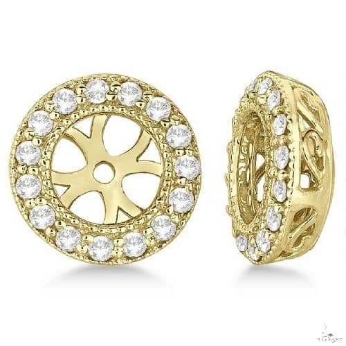 Vintage Round Cut Diamond Earring Jackets 14k Yellow Gold Stone