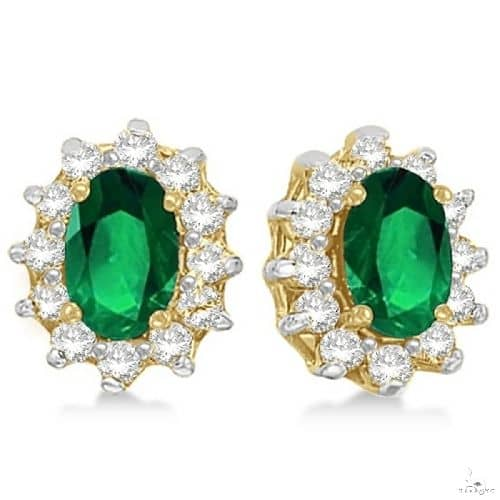 Oval Emerald and Diamond Accented Earrings 14k Yellow Gold Stone