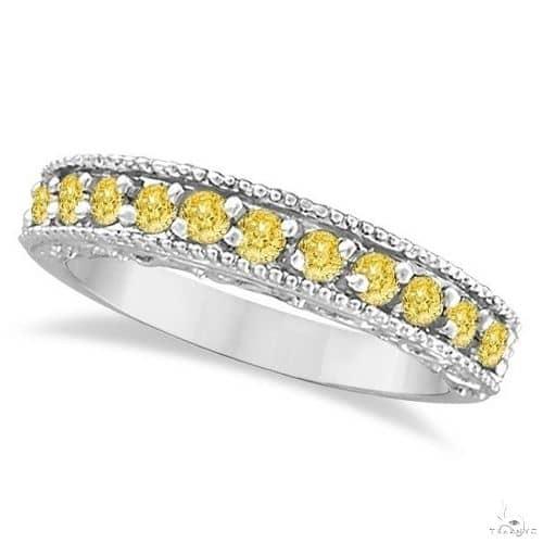 Fancy Yellow Canary Diamond Ring Band 14k White Gold Anniversary/Fashion