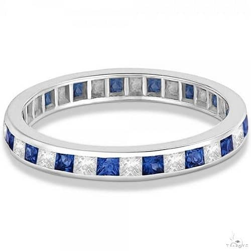 Princess-Cut Sapphire and Diamond Eternity Ring 14k White Gold Anniversary/Fashion