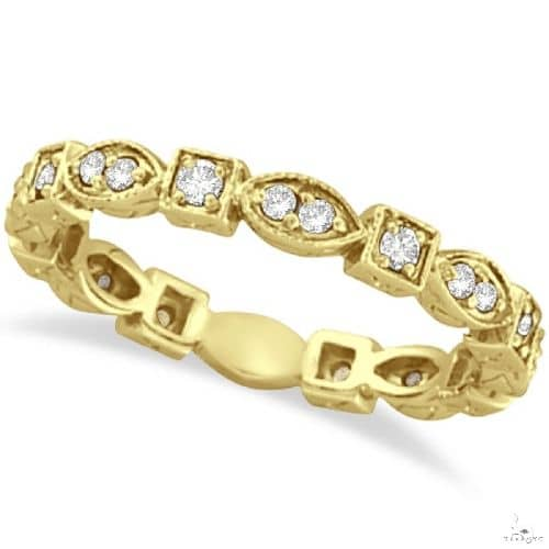 Antique Style Diamond Eternity Ring Band in 14k Yellow Gold Anniversary/Fashion