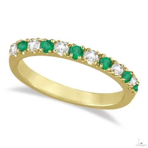 Diamond and Emerald Band Stackable Ring Guard 14k Yellow Gold Anniversary/Fashion