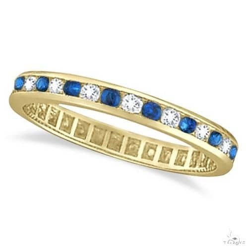 Blue Sapphire and Diamond Channel Set Eternity Band 14k Yellow Gold Anniversary/Fashion