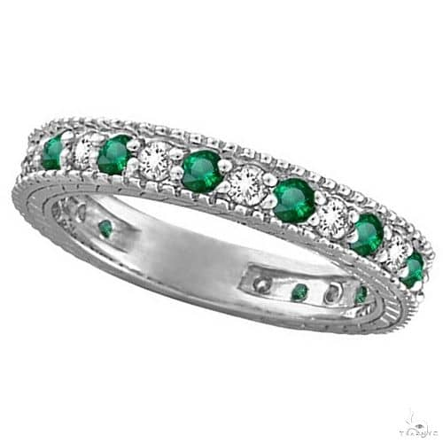 Diamond and Emerald Anniversary Ring Band in 14k White Gold Anniversary/Fashion