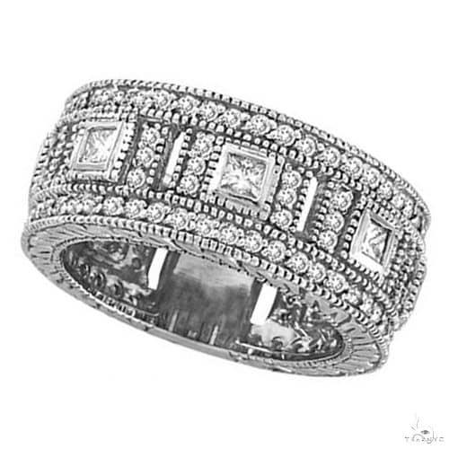 Round and Princess Eternity Diamond Byzantine Ring 14k White Gold Anniversary/Fashion