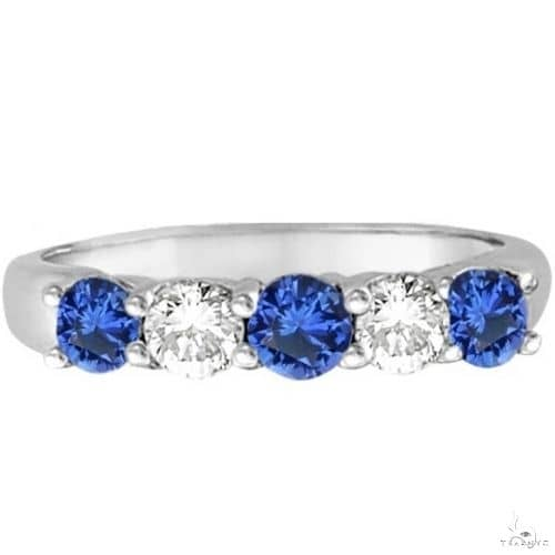 Five Stone Blue Sapphire and Diamond Ring 14k White Gold Anniversary/Fashion