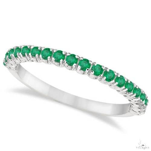 Half-Eternity Pave-set Thin Emerald Stacking Ring 14k White Gold Anniversary/Fashion