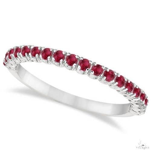 Half-Eternity Pave-set Thin Ruby Stacking Ring 14k White Gold Anniversary/Fashion